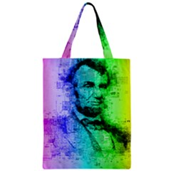 Abraham Lincoln Portrait Rainbow Colors Typography Zipper Classic Tote Bag