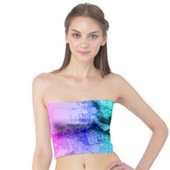 Abraham Lincoln Portrait Rainbow Colors Typography Tube Top