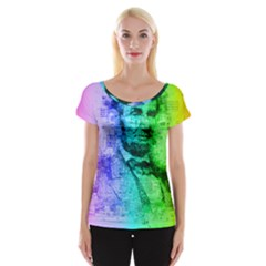 Abraham Lincoln Portrait Rainbow Colors Typography Women s Cap Sleeve Top