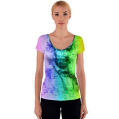 Abraham Lincoln Portrait Rainbow Colors Typography Women s V-Neck Cap Sleeve Top