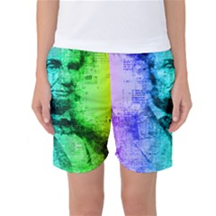 Abraham Lincoln Portrait Rainbow Colors Typography Women s Basketball Shorts