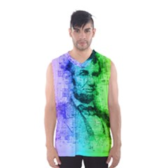 Abraham Lincoln Portrait Rainbow Colors Typography Men s Basketball Tank Top
