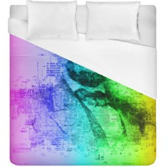 Abraham Lincoln Portrait Rainbow Colors Typography Duvet Cover (King Size)