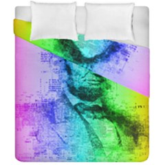 Abraham Lincoln Portrait Rainbow Colors Typography Duvet Cover Double Side (California King Size)