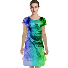 Abraham Lincoln Portrait Rainbow Colors Typography Cap Sleeve Nightdress