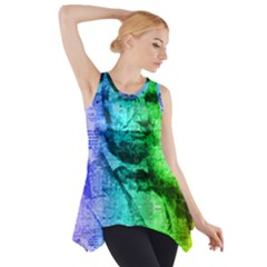 Abraham Lincoln Portrait Rainbow Colors Typography Side Drop Tank Tunic
