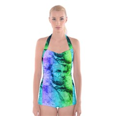 Abraham Lincoln Portrait Rainbow Colors Typography Boyleg Halter Swimsuit