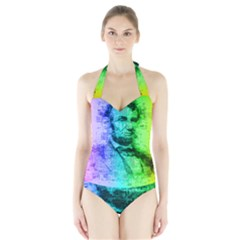 Abraham Lincoln Portrait Rainbow Colors Typography Halter Swimsuit