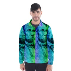 Abraham Lincoln Portrait Rainbow Colors Typography Wind Breaker (Men)