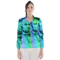 Abraham Lincoln Portrait Rainbow Colors Typography Wind Breaker (Women)
