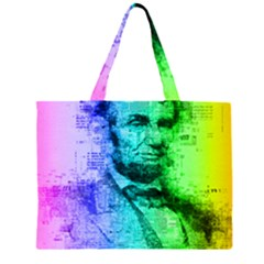 Abraham Lincoln Portrait Rainbow Colors Typography Large Tote Bag