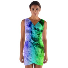 Abraham Lincoln Portrait Rainbow Colors Typography Wrap Front Bodycon Dress