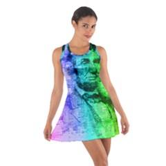 Abraham Lincoln Portrait Rainbow Colors Typography Cotton Racerback Dress