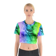 Abraham Lincoln Portrait Rainbow Colors Typography Cotton Crop Top
