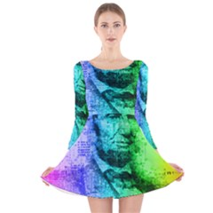 Abraham Lincoln Portrait Rainbow Colors Typography Long Sleeve Velvet Skater Dress