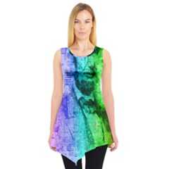 Abraham Lincoln Portrait Rainbow Colors Typography Sleeveless Tunic