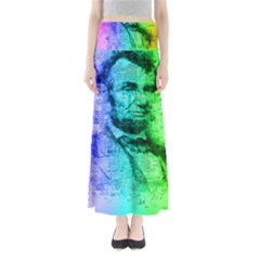 Abraham Lincoln Portrait Rainbow Colors Typography Maxi Skirts