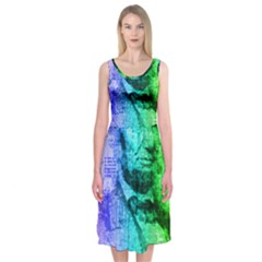 Abraham Lincoln Portrait Rainbow Colors Typography Midi Sleeveless Dress