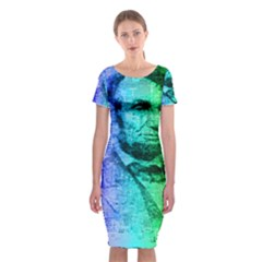 Abraham Lincoln Portrait Rainbow Colors Typography Classic Short Sleeve Midi Dress