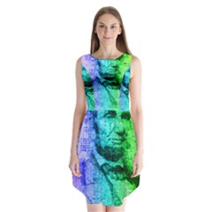 Abraham Lincoln Portrait Rainbow Colors Typography Sleeveless Chiffon Dress