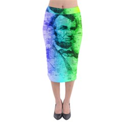 Abraham Lincoln Portrait Rainbow Colors Typography Midi Pencil Skirt