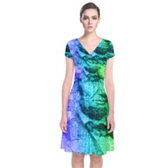 Abraham Lincoln Portrait Rainbow Colors Typography Short Sleeve Front Wrap Dress