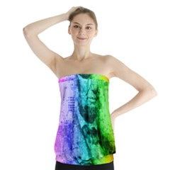 Abraham Lincoln Portrait Rainbow Colors Typography Strapless Top