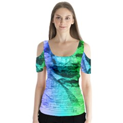 Abraham Lincoln Portrait Rainbow Colors Typography Butterfly Sleeve Cutout Tee