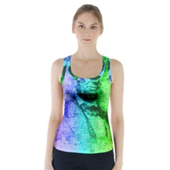 Abraham Lincoln Portrait Rainbow Colors Typography Racer Back Sports Top