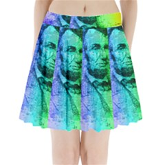 Abraham Lincoln Portrait Rainbow Colors Typography Pleated Mini Skirt