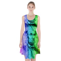 Abraham Lincoln Portrait Rainbow Colors Typography Racerback Midi Dress