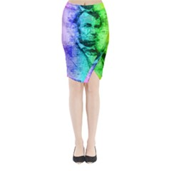 Abraham Lincoln Portrait Rainbow Colors Typography Midi Wrap Pencil Skirt