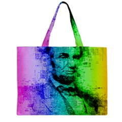 Abraham Lincoln Portrait Rainbow Colors Typography Medium Zipper Tote Bag