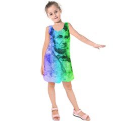Abraham Lincoln Portrait Rainbow Colors Typography Kids  Sleeveless Dress
