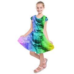 Abraham Lincoln Portrait Rainbow Colors Typography Kids  Short Sleeve Dress