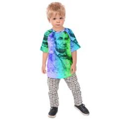 Abraham Lincoln Portrait Rainbow Colors Typography Kids  Raglan Tee