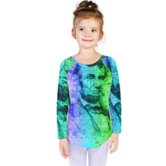 Abraham Lincoln Portrait Rainbow Colors Typography Kids  Long Sleeve Tee