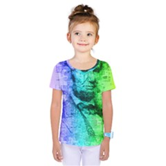 Abraham Lincoln Portrait Rainbow Colors Typography Kids  One Piece Tee
