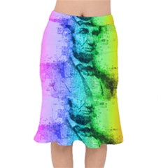 Abraham Lincoln Portrait Rainbow Colors Typography Mermaid Skirt