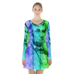Abraham Lincoln Portrait Rainbow Colors Typography Long Sleeve Velvet V Neck Dress