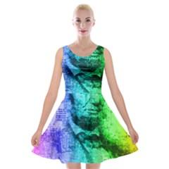 Abraham Lincoln Portrait Rainbow Colors Typography Velvet Skater Dress