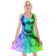 Abraham Lincoln Portrait Rainbow Colors Typography Reversible Velvet Sleeveless Dress