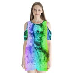 Abraham Lincoln Portrait Rainbow Colors Typography Shoulder Cutout Velvet  One Piece