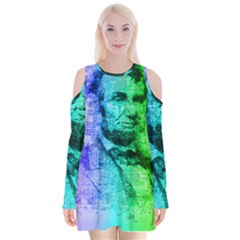 Abraham Lincoln Portrait Rainbow Colors Typography Velvet Long Sleeve Shoulder Cutout Dress