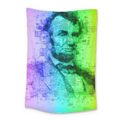 Abraham Lincoln Portrait Rainbow Colors Typography Small Tapestry