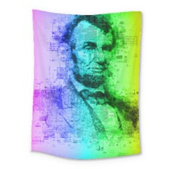 Abraham Lincoln Portrait Rainbow Colors Typography Medium Tapestry