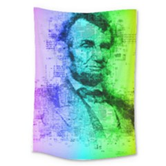 Abraham Lincoln Portrait Rainbow Colors Typography Large Tapestry