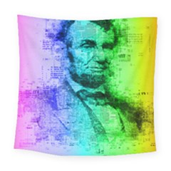 Abraham Lincoln Portrait Rainbow Colors Typography Square Tapestry (Large)