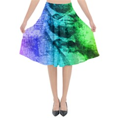 Abraham Lincoln Portrait Rainbow Colors Typography Flared Midi Skirt