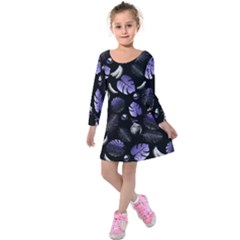 Tropical pattern Kids  Long Sleeve Velvet Dress